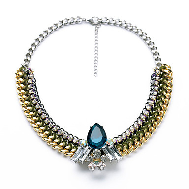 Damskie Pasemka Naszyjniki Geometric Shape Unikalny euroamerykańskiej Dark Blue Biżuteria Na Casual Prezenty bożonarodzeniowe 1szt
