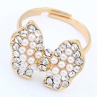 Dames Ring Bandring Imitatie Parel Gepersonaliseerde Uniek ontwerp Logostijl Klassiek Vintage Bohémien Standaard Brits USA Afrika