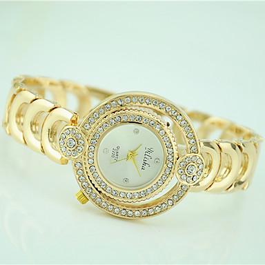Damen Modeuhr Armbanduhr Quartz Strass Legierung Band Freizeit Gold