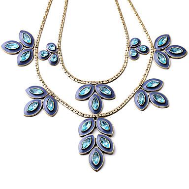 Pentru femei Coliere Layered Cristal La modă Personalizat Euramerican Albastru Închis Bijuterii Pentru Nuntă Petrecere 1 buc