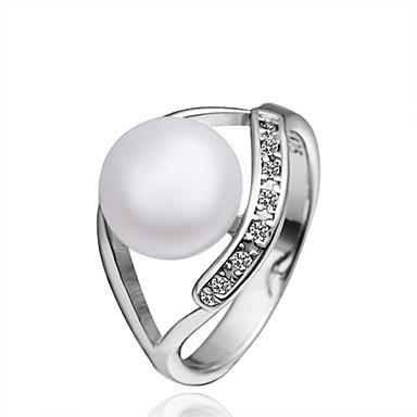 Pentru femei Inel Zirconiu Cubic Imitație de Perle Argintiu Imitație de Perle Zirconiu Articole de ceramică Argilă Rotund Geometric Shape