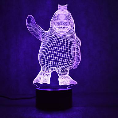 pingviini kilpikonnat kosketus himmennys 3d led yövalo 7colorful sisustus tunnelmaa lamppu uutuus valaistus kevyt