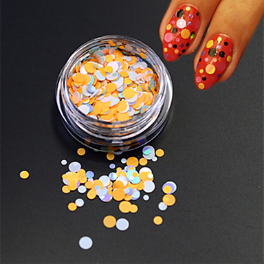 1bottle moda unghii art frumusete colorat rotund felie subțire sclipici rotund paillette nail art diy decorare p35