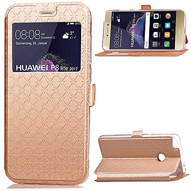 غطاء من أجل Huawei هواوي P8 لايت حامل البطاقات مع حامل مع نافذة قلب غطاء كامل للجسم لون الصلبة قاسي جلد PU إلى P8 Lite (2017) Huawei P8