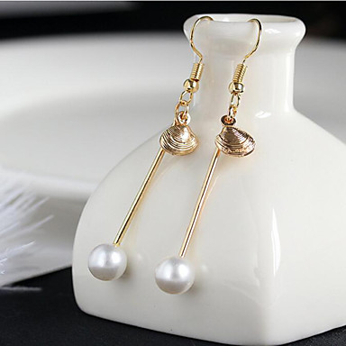 أقراط قطرة لؤلؤ تقليدي عتيقة سبيكة Round Shape ذهبي مجوهرات إلى مناسبة خاصة عيد ميلاد يوميا فضفاض 1 زوج