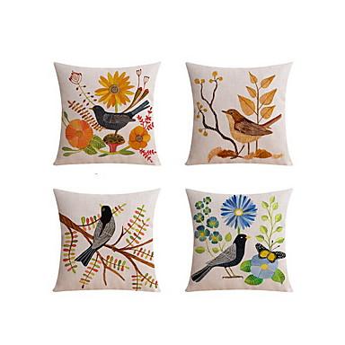 4 szt Bielizna Poszewka na poduszkę Poduszka na łóżko Poduszka Body Pillow Poduszka turystyczna sofa Poduszka,Kwiatowy Zwierząt Drukuj