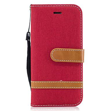 Voor apple iphone 7 7 plus 6s 6 plus se 5s 5 case cover denim patroon stiksels kleur kaart stent pu materiaal telefoon hoesje