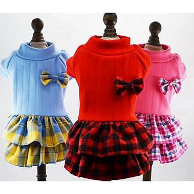 كلب الفساتين ملابس الكلاب جميل كاجوال/يومي موضة أميرة أحمر أزرق زهري