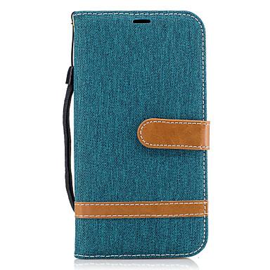 hoesje Voor Samsung Galaxy J5 (2016) J3 (2016) Kaarthouder Portemonnee met standaard Flip Volledige behuizing Lijnen / golven Hard Textiel