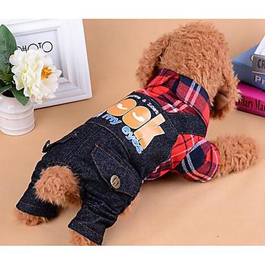 Hond Jumpsuits Hondenkleding Casual/Dagelijks Modieus Geruit Rood Blauw