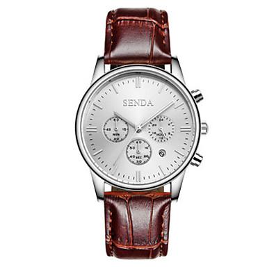 Heren Modieus horloge Kwarts Leer Band Bruin