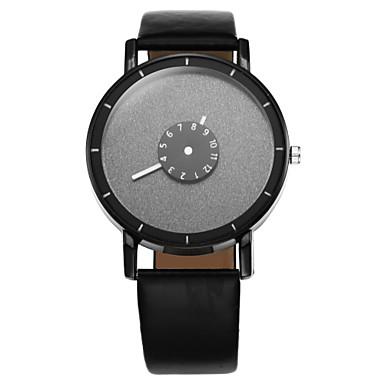 Heren Modieus horloge Vrijetijdshorloge Kwarts Vrijetijdshorloge Leer Band Zwart Wit