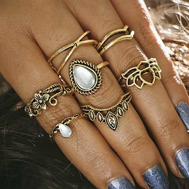 7PCS نسائي خاتم - سبيكة تاج سيدات, تصميم فريد, عتيق مجوهرات ذهبي / فضي من أجل مناسب للحفلات مناسب للبس اليومي فضفاض قياس واحد