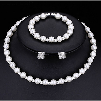 Damskie Zestawy biżuterii Perlový náhrdelník Cyrkonia Pearl imitacja Stop Zaokrąglanie Multi-sposoby Wear Modny Ślub Impreza Zaręczynowy