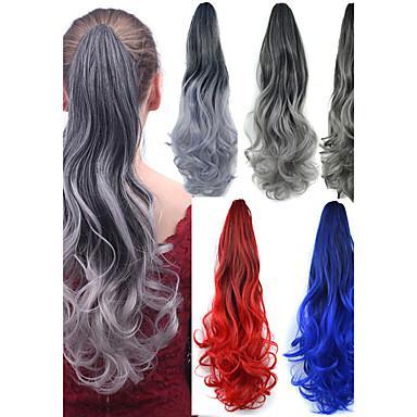 Body Golf Paardenstaart Haar stuk Haarextensies 22 inch Zilver Grijs Zwart / grijs Zwart rood Zwart blauw
