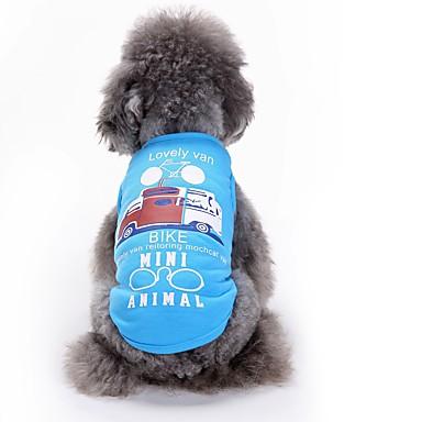 Pisici Câine Tricou Γιλέκο Îmbrăcăminte Câini Geometic Alb Albastru Bumbac Costume Pentru animale de companie Bărbați Pentru femei Draguț