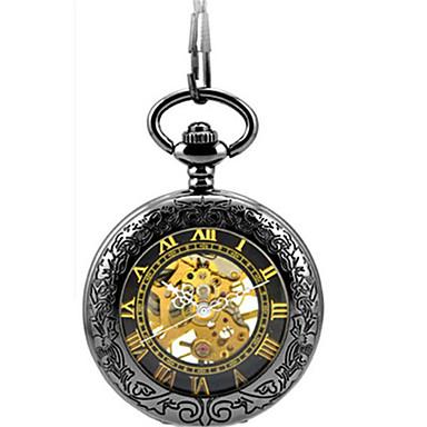 للرجال داخل الساعة أتوماتيك ووتش الميكانيكية ساعة جيب ساعة الهيكل ساعة كاجوال أشابة فرقة أنيقة أسود