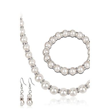 Pentru femei Seturi de bijuterii Lănțișor La modă Euramerican Perle Ștras Aliaj Round Shape Geometric Shape 1 Colier 1 Pereche de Cercei