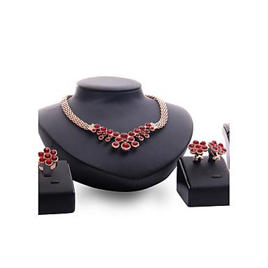 للمرأة مجموعة مجوهرات روبي الاصطناعية مخصص euramerican في موضة زفاف حزب مناسبة خاصة خطوبة الأحجار الكريمة الاصطناعية مطلية بالذهب سبيكة