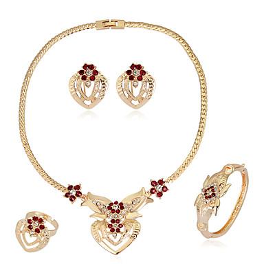 Pentru femei Geometric Set bijuterii - Ștras Inimă Modă, Euramerican Include Cercei / brățară / Colier / Inel Auriu Pentru Nuntă / Petrecere / Ocazie specială / Inele