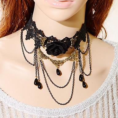 Damen Blume Klassisch Modisch Halsketten Synthetischer Saphir Künstliche Perle Spitze Schwarze Perle Halsketten . Hochzeit Party