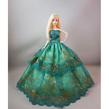 파티 / 이브닝 드레스 에 대한 Barbiedoll 레이스 / 공단 드레스 에 대한 여자의 인형 장난감