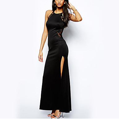 cheap Prom Dresses-Women's Holiday Party / Cocktail New Year Eve Sexy Maxi Bodycon Dress Lace Split Summer Black M L XL / Slim