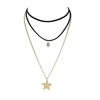 Damen Linienform Stern Gestalten Grundlegend Übergang Layered Ketten Chrom Layered Ketten Alltag Normal Modeschmuck