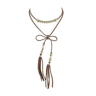 للمرأة Bowknot Shape تصميم فريد شرابة مصنوع يدوي قلادات ضيقة قماش قلادات ضيقة ، يوميا فضفاض