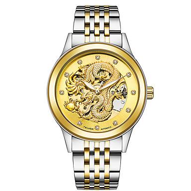זול שעוני גברים-בגדי ריקוד גברים שעוני ספורט שעוני שלד שעונים צבאיים Japanese אוטומטי נמתח לבד מתכת אל חלד כסף / זהב / צבעוני 30 m לוח שנה יצירתי חיקוי יהלום אנלוגי