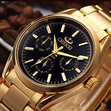 CHENXI® Heren Dress horloge Modieus horloge Japans Kwarts Kalender Roestvrij staal Band Informeel Cool Goud