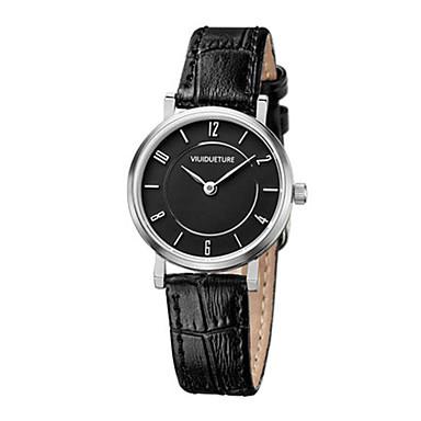 Dames Modieus horloge Kwarts Waterbestendig Drie tijdzones Leer Band Amulet Zwart Wit
