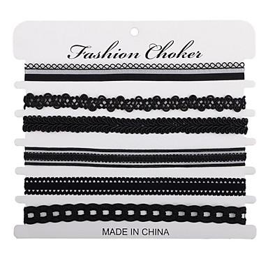 Damen Mädchen Spitze Halsketten Schal Halskette - Personalisiert Kreisförmiges Einzigartiges Design Retro Bänder Liebe Herz Kreis