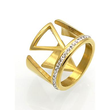 Bărbați Pentru femei Inel Inel de declarație Band Ring Auriu Argintiu Zirconiu Cubic Oțel titan 18K Aur Rotund Τρίγωνο Geometric Shape