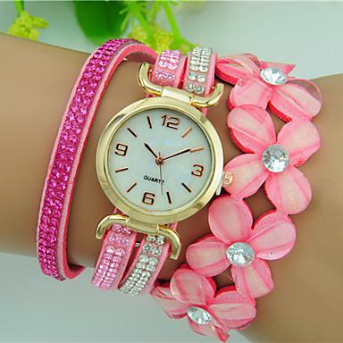 Damen Armband-Uhr Quartz Strass Leder Band Blume Schwarz Weiß Blau Rot Braun Rosa Lila Rose