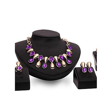 للمرأة مجموعة مجوهرات متعدد الحجر الأحجار الكريمة الاصطناعية ذهبي سبيكة أخرى Geometric Shape مخصص قديم بيان المجوهرات euramerican في موضة