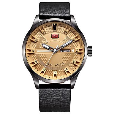 للرجال ساعة فستان ساعات فاشن كوارتز جلد طبيعي فرقة كاجوال أسود بني