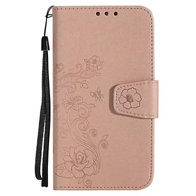 Hülle Für Huawei Kreditkartenfächer Geldbeutel Flipbare Hülle Muster Geprägt Ganzkörper-Gehäuse Blume Glänzender Schein Hart PU-Leder für