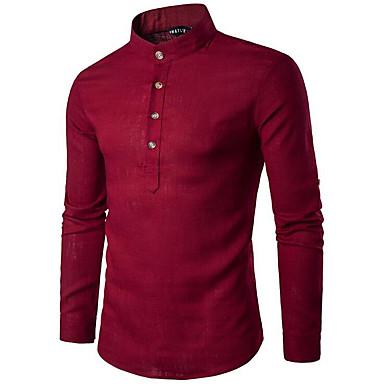 economico Abbigliamento uomo-Camicia Per uomo Stoffe orientali Basic, Tinta unita Colletto Mao - Lino Blu marino L / Manica lunga / Taglia piccola