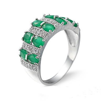للمرأة خاتم زمردي تصميم فريد موضة euramerican في زركون زمردي سبيكة مجوهرات مجوهرات من أجل زفاف مناسبة خاصة