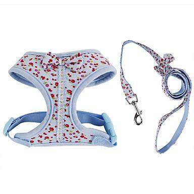 Kat Hond harnassen Lijnen draagbaar Ademend Vouwbaar Veiligheid Verstelbaar Bloem Brits Strik Stof Gaas Katoen Blauw Roze