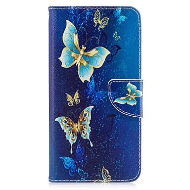 Voor iphone 7plus 7 telefoon hoesje pu leer materiaal gouden vlinder patroon beschilderde telefoon hoesje 6s plus 6plus 6s 6 zie 5s 5