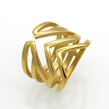 للرجال للمرأة خاتم خاتم البيان عصابة الفرقة ذهبي فضي الصلب التيتانيوم 18K الذهب دائري Geometric Shape Taper Shape مخصص هندسي تصميم دائري