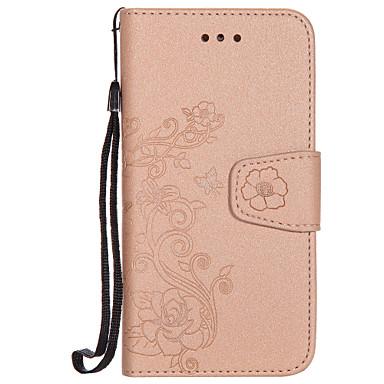 Maska Pentru Apple iPhone 7 Plus iPhone 7 Titluar Card Portofel Întoarce Model Carcasă Telefon Culoare solidă Floare Greu PU piele pentru