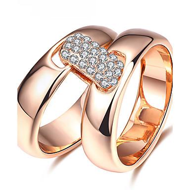 Pentru femei Zirconiu Cubic Inel de declarație / Inel - Zirconiu, Placat Cu Aur Roz, Aliaj Personalizat, Lux, Clasic 6 / 7 / 8 Roz auriu