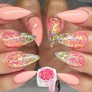 1 Glitter de unghii Pudră Paiete Elegant & Luxos Pudră Acrilică Strălucitor & Sclipitor Lux Paiete Spumos Calitate superioară Zilnic Nail