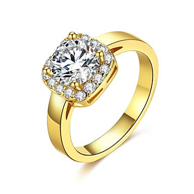 Damen Ring Kubikzirkonia Gold Silber Zirkon Kupfer versilbert vergoldet Aleación Quadratisch Geometrische Form Personalisiert Geometrisch