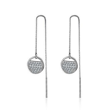 Damen Kubikzirkonia Tropfen-Ohrringe - Zirkon, Platiert Kreisförmiges, Hypoallergen Silber Für Party / Alltagskleidung / Geschenk