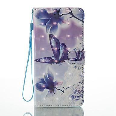 Hülle Für Apple iPhone 7 Plus iPhone 7 Kreditkartenfächer Geldbeutel mit Halterung Flipbare Hülle Muster Ganzkörper-Gehäuse Schmetterling