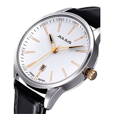 Heren Skeleton horloge Modieus horloge Japans Kwarts Kalender Waterbestendig Leer Band Zwart Wit Bruin